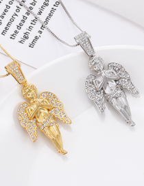 Fashion Silver Angel Necklace In Copper With Zircon