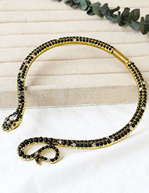Fashion Blue Alloy Resin Bead Snake Necklace