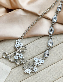 Fashion Silver Love Necklace With Alloy Diamonds