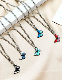Fashion Red Alloy Butterfly Necklace