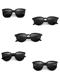 Fashion Black Resin Round Frame Sunglasses
