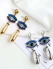 Fashion Gold Color Resin Drop Earrings With Alloy Diamond Eyes