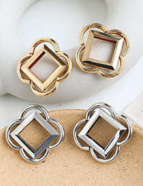 Fashion Silver Alloy Square Flower Earrings