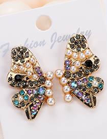 Fashion Color Butterfly Pearl Stud Earrings