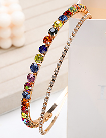 Fashion Colorful Double Round Headband With Alloy Diamond And Small Round Diamond