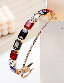 Fashion Colorful Alloy Diamond Double Square Hairband