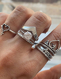 Fashion Silver Alloy Letter Love Ring Set