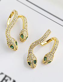 Fashion Golden Two Serpentine Ear Clips With Copper And Zircon