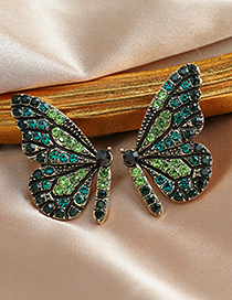 Fashion White Butterfly Earrings With Alloy Diamonds