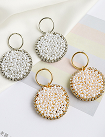 Fashion Silver Round Earrings With Alloy Pearls And Diamonds
