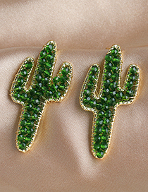 Fashion Green Alloy Resin Rice Bead Cactus Ear Studs
