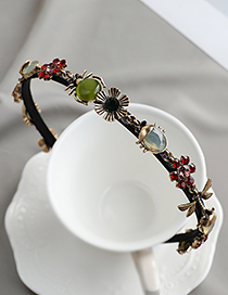 Fashion Color Alloy Diamond Spider Flower Hair Band