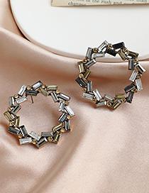 Fashion Color Alloy Rhinestone Geometric Studs