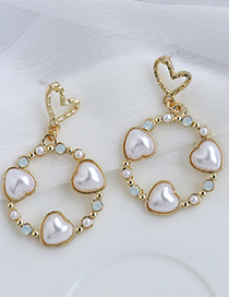 Fashion Golden Alloy Pearl Love Hollow Round Earrings