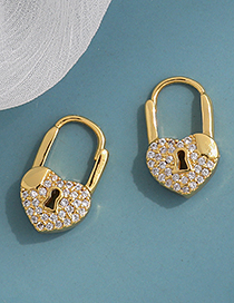 Fashion Golden Copper Inlaid Zircon Heart Lock Earrings
