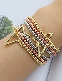 Fashion Color Multilayer Copper Inlaid Zircon Beads Geometric Bracelet