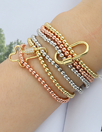 Fashion Color Multi-layer Copper Beaded Geometric Bracelet