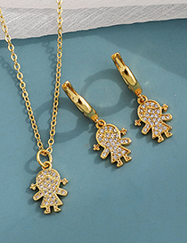 Fashion Golden Copper Inlaid Zircon Girl Necklace