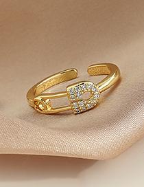 Fashion Silver Copper Inlaid Zircon Brooch Ring