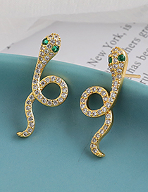 Fashion Golden Copper Inlaid Zircon Serpentine Earrings