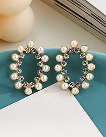 Fashion Gold Color Alloy Pearl Diamond Hollow Oval Stud Earrings