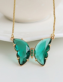 Fashion White Alloy Diamond Butterfly Necklace