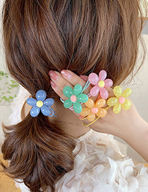 Fashion Green Resin Flower Knotted Elastic Hair Rope
