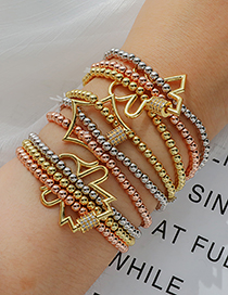 Fashion Golden Copper Inlaid Zircon Five-pointed Star Beaded Bracelet