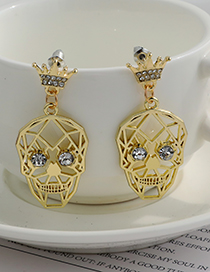 Fashion Gold Color Alloy Diamond Crown Hollow Skull Stud Earrings