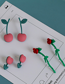 Fashion Green Alloy Rose Earrings