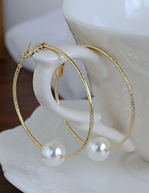 Fashion Gold Color Alloy Pearl Circle Stud Earrings