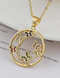 Fashion Gold Color Copper Inlaid Zircon Flower Necklace