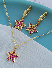 Fashion Gold Color Copper Inlaid Zircon Five-pointed Star Necklace