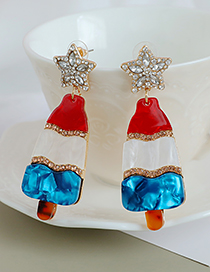 Fashion Color Alloy Diamond Five-pointed Star Ice Cream Stud Earrings