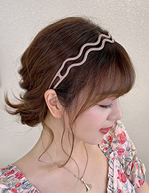 Fashion Gray Blue Anti-slip Multi-layer Hollow Headband With Toothed Wave Pattern