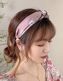 Fashion Black Daisy Daisy Print Knotted Wide-brimmed Headband