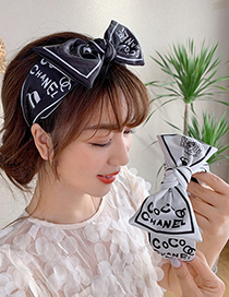 Fashion Big Black Print Bowknot Fabric Flower Print Wide-brimmed Headband Hair Rope