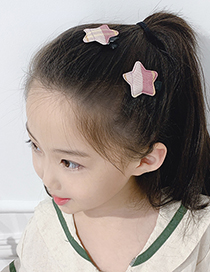 Fashion Korean Pink Lattice Stars [1 Pair] Lattice Star Fabric Alloy Hit Color Children Hairpin
