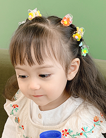 Fashion 6 Small Daisies Resin Flower Hit Color Childrens Hairpin Set