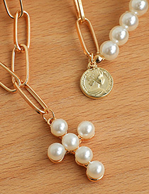 Fashion Gold Color Alloy Double Pearl Cross Necklace
