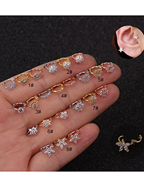 Fashion Drop-shaped Rose Gold Gold-plated Copper Earrings Inlaid With Zircon Flowers