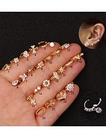 Fashion Snowflake Golden Micro-set Zircon Geometric Gold-plated Earrings