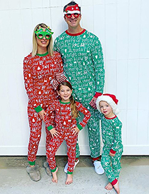 Fashion Daddy Green Christmas Letter Print Home Service Suit