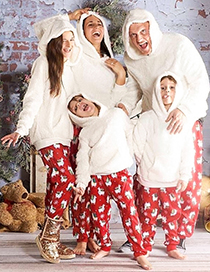 Fashion Dad Alpaca Print Christmas Plush Warm Hooded Parent-child Suit