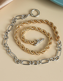 Fashion Gold Color+silver Color Alloy Chain Stitching Necklace
