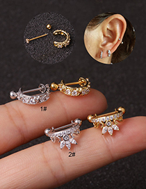 Fashion 2#gold Stainless Steel Screw Micro Inlaid Zircon Earrings