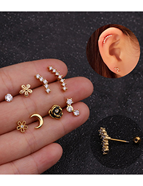 Fashion Gold Color Coloren 8# Stainless Steel Micro-inlaid Zircon Thread Flower Geometric Earrings (1 Price)