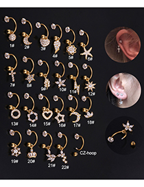Fashion 22# 8mm Silver Color Stainless Steel Geometric C-shaped Flower Micro-inlaid Zircon Earrings (1 Price)