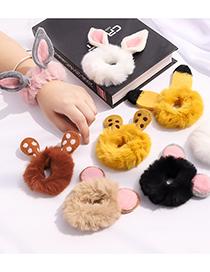 Fashion White Rabbit Ears Bunny Ears Plush Contrast Elastic Hair Rope
