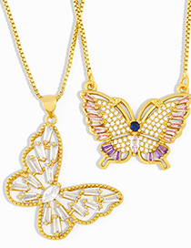 Fashion White Diamond Butterfly Micro Inlaid Zircon Gold-plated Hollow Necklace